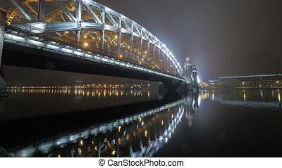 Timelapse of Peter the Great or Bolsheohtinskiy Bridge in St. Petersburg
