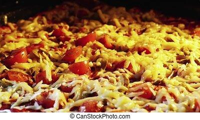 Timelapse of Pizza baking in Oven full heated . 4k