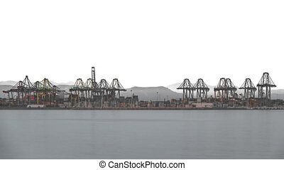 Timelapse of port cranes and sea - Long shot Timelapse of...