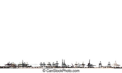 Timelapse of port cranes over white background, high...