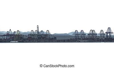 Timelapse of port cranes over white background - Long shot...