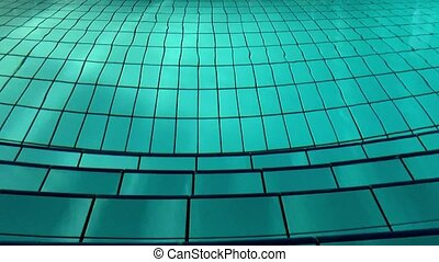 Timelapse of ripple water in swimming pool lit at night