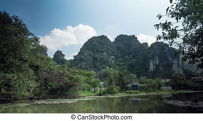 Timelapse of scenic view of river in Vietnam