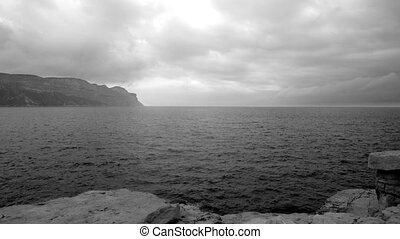 timelapse of sea, clouds and high cliffs of cassis, south of...