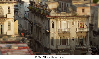 timelapse of shadows passing over the low rise havana...