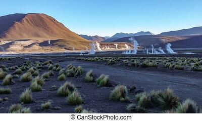 Timelapse of Smoke in the El Tatio Geysers Field, Atacama...