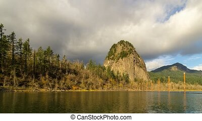 Timelapse of stormy clouds over Beacon Rock along Columbia...