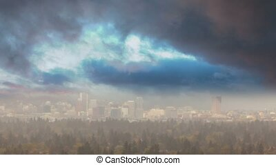 Timelapse of stormy clouds over Portland OR in colorful Fall...