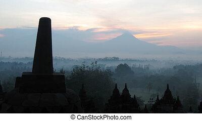Timelapse of sunrise in Borobudur