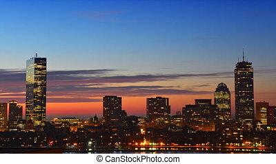 Timelapse of sunrise over Boston