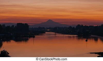 Timelapse of sunrise over Columbia River Gorge and Hayden Island in Portland OR
