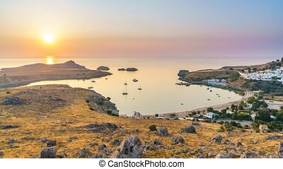 Timelapse of sunrise over Lindos, on Rhodes, Greece