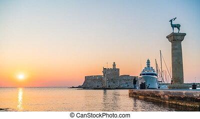 Timelapse of sunrise over Rhodes harbour
