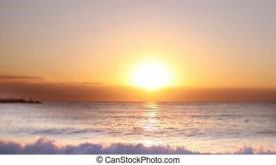 timelapse of sunrise over the sea, in barcelona spain