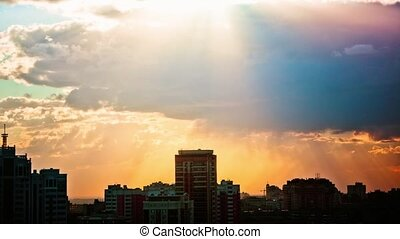 Timelapse of sunset at city skyline background