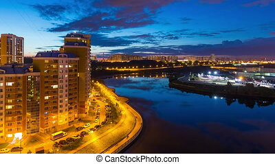 Timelapse of sunset over Moscow river - Timelapse of day to...