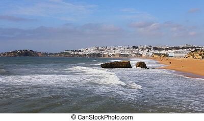 Timelapse of the beach at Albufeira, Portugal on sunny day