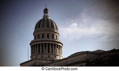 timelapse of the capitol building in the centre of havana,...
