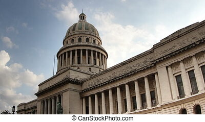timelapse of the capitol building in the centre of havana, cuba