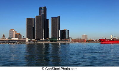 Detroit skyline with freighter - Timelapse of the Detroit...