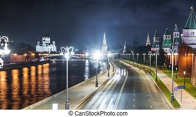 Timelapse of the embankment of the Moscow river. Russia.