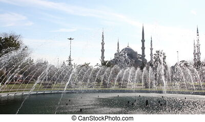 timelapse of the famous blue mosque in istanbul, turkey with hfountain in front