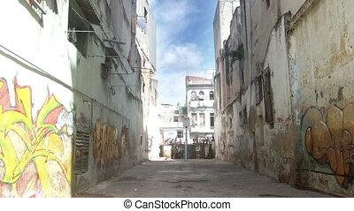 timelapse of the havana rundown side street, cuba
