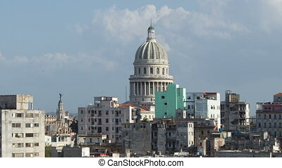 timelapse of the havana skyline and capitolio building, cuba