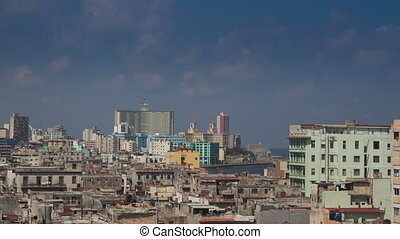 timelapse of the havana skyline and coast, cuba