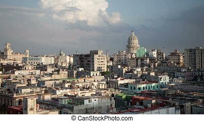 timelapse of the havana skyline and capitolio building, cuba