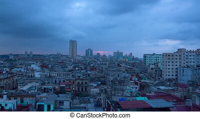 timelapse of the havana skyline at night, cuba