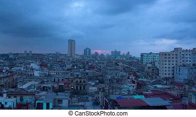timelapse of the havana skyline at night, cuba