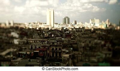 timelapse of the havana skyline cuba, cating shadows as the...