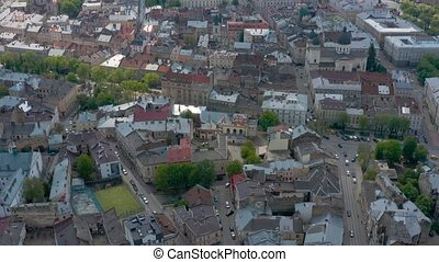Aerial timelapse of the historical center of Lviv, UNESCO's cultural heritage