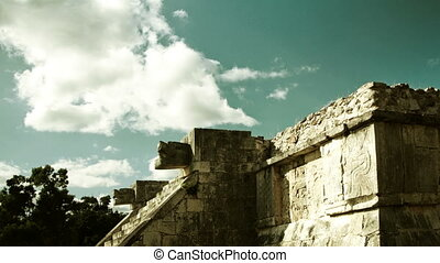 timelapse of the mayan ruins of chichen itza, mexico. the...