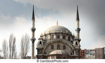 timelapse of the Nusretiye cami mosque in istanbul, turkey,...