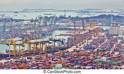 Timelapse of the port of Singapore, UHD 4K