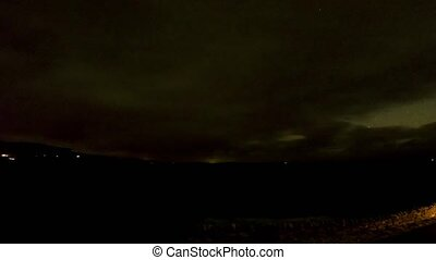 Timelapse of the sky above Staffin Bay on the Isle of Skye with stars, clouds, the milky way coming in