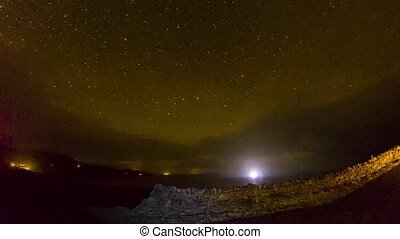 Timelapse of the sky above Staffin Bay on the Isle of Skye with stars,clouds, the milky way and aurora borelais coming in