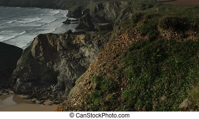 timelapse of the stunning and dramatic coastline at...