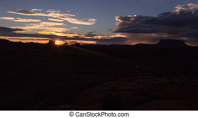Timelapse of the Sunset Needles District of the Canyonlands...