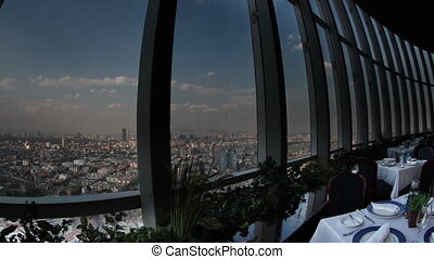 timelapse of the view from the rotating restaurant at the top of the world trade centre in mexico city