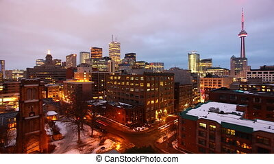 Timelapse of Toronto at night - Timelapse view of the...