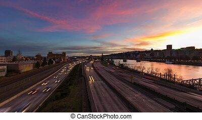 Timelapse of Traffic in Portland OR - Time Lapse Movie of...