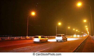 Timelapse of traffic on bridge at n