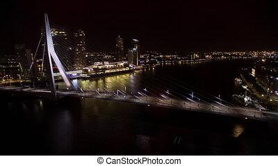 Timelapse of traffic on Erasmus Bridge at night, Rotterdam