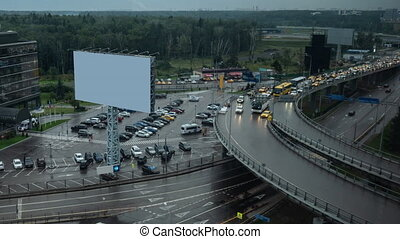 Timelapse of traffic on interchange. City view with blank...