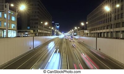 Timelapse of transport metropolis, traffic and blurry lights