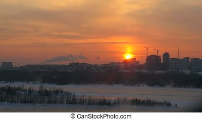 Timelapse of view of Novosibirsk from the height at sunset. 3840x2160