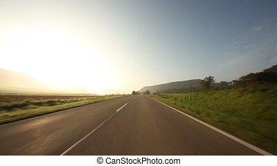 timelapse, onboard-camera, auf, a, ländliche straße, in,...